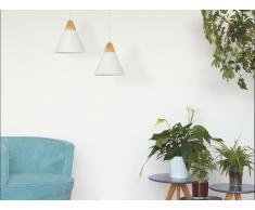 Lampadario a forma di cono in vetro bianco - ALBANO