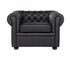 Poltrona chesterfield - Poltrona vintage nera - Poltrona in pelle - CHESTERFIELD