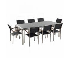 Set di tavolo e sedie da giardino in acciaio, granito e fibra tessile - Grigio lucido - 220cm - GROSSETO