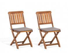 Sedia da giardino in legno di acacia 140x75cm 2pz CENTO