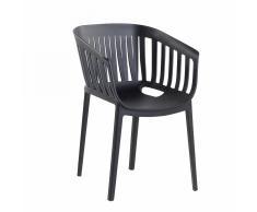 Sedia in plastica nera da cucina e giardino - DALLAS