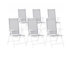 Set sedie da giardino Sedia da giardino in alluminio color grigio CATANIA