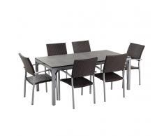 Set di tavolo e sedie in rattan e granito TORINO