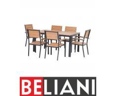 Set da giardino marrone in alluminio e poliwood per 6 persone - Tavolo 150cm e 6 sedie - COMO