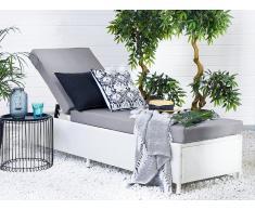 Lettino da giardino in rattan bianco rivestimento grigio TORINO II