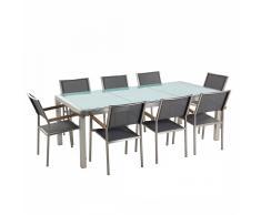 Set tavolo e sedie da giardino - In vetro temperato e fibra tessile grigia - tavolo 220 con 8 sedie - GROSSETO