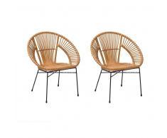 Set di 2 sedie da giardino in rattan colore giallo SARITA