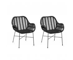 Set di 2 sedie in rattan nero CANORA