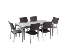 Set di tavolo e sedie in rattan e granito grigio lucido TORINO
