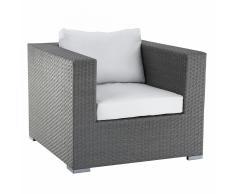 Sedia da giardino in rattan - Poltrona da giardino con cuscini - MAESTRO grigio