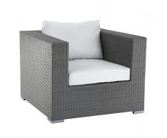 Sedia poltrona da giardino in rattan grigio con cuscini bianchi MAESTRO