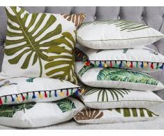 Cuscino decorativo in cotone a foglie di palma 45 x 45 cm verde