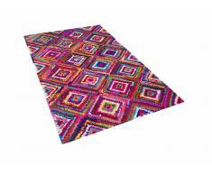 Tappeto shaggy multicolore in cotone - 140x200cm - KAISERI