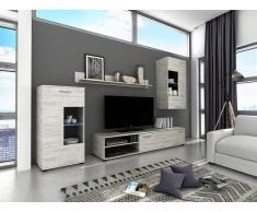 Set di mobili componibili da soggiorno in legno di pino color bianco POMERANIA