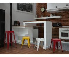 Sgabello da bar in metallo bianco - Sgabello design da cucina - 46cm - CABRILLO