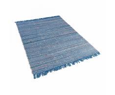 Tappeto blu marino rettangolare in cotone fatto a mano - 80x150cm - BESNI