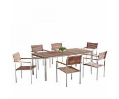 Set di tavolo e sedie da giardino in acciaio e teak - VIAREGGIO