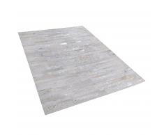 Tappeto in pelle beige / argento 160 x 230 cm TIPILI
