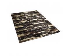 Tappeto patchwork nero e oro in pelle - 200x200cm - ARTVIN