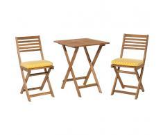 Set da balcone in legno marrone - Tavolo con 2 sedie - Cuscino giallo - FIJI