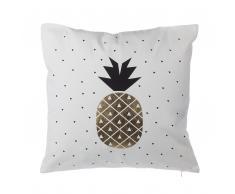 Cuscino decorativo motivo ananas 45 x 45 cm nero/oro