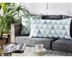 Cuscino da esterno a triangoli blu/bianco 40x70cm