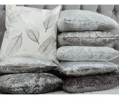 Cuscino decorativo a foglie 45 x 45 cm bianco/argento