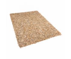 Tappeto shaggy in pelle beige - 160x230cm - MUT