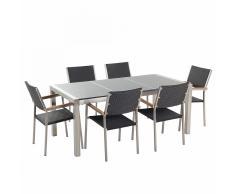 Set di tavolo e sedie da giardino in acciaio, granito e rattan - 180cm - Grigio lucido - GROSSETO