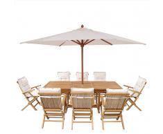 Set di tavolo e sedie da giardino in legno - Tavolo - 8 sedie con cuscini - Ombrellone - Beige - JAVA