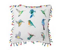 Cuscino decorativo a uccelli con frange 45 x 45 cm multicolore