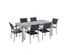 Set tavolo e sedie da giardino - In vetro temperato nero e rattan - tavolo 180 con 6 sedie - GROSSETO