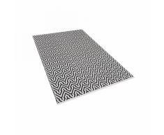 Tappeto moderno rettangolare bianco e nero a pelo corto - 80x150cm - MANISA