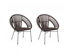 Set di 2 sedie in rattan marrone SARITA