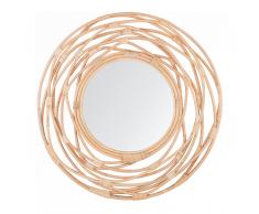 Specchio da muro in rattan color beige ø 75 cm BURGIS
