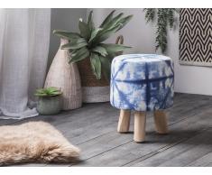 Sgabello in tessuto bianco/blu e gambe in legno LONI