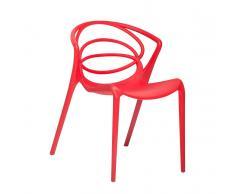 Sedia rossa - Sedia in plastica - Sedia da giardino di design - Sedia da pranzo - BEND