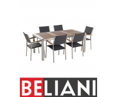 Set di tavolo e sedie da giardino in acciaio, legno e rattan - 180cm - GROSSETO