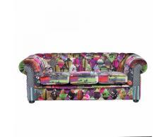 Divano vintage a 3 posti in tessuto multicolore viola CHESTERFIELD