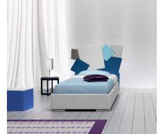 Flow Fusion Design Letto Singolo Square Bianco Con Contenitore