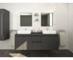Unique Mobili da bagno LAVITA II sospesi doppio lavabo e specchi - Grigio