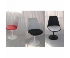TULIP - Sedia girevole bianca o nera replica design Eero Saarinen con base in fusione di alluminio e seduta in ABS - Bianco 2°Scelta, Bianco