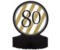 Centro tavola 80 anni bianco e oro Taglia Unica