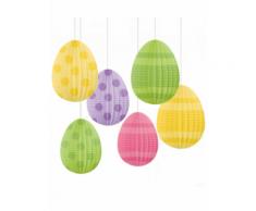 6 decorazioni da appendere Uova di Pasqua 12 cm Taglia Unica