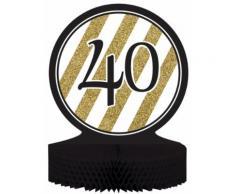 Centro tavola 40 anni nero-oro Taglia Unica