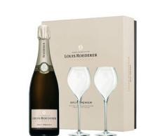 Champagne Louis Roederer Cofanetto Regalo 2 Bicchieri Flute - Brut Premier - Louis Roederer