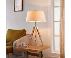 Lampenwelt.com Lampada da tavolo Katie di legno e stoffa