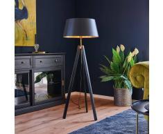 Lampenwelt.com Lampada da pavimento in legno Thea nero e oro