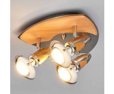Lampenwelt.com Sharleen - lampada LED da soffitto in legno