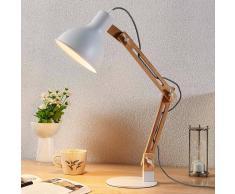 Lampenwelt.com Lampada di legno Shivanja con schermo bianco